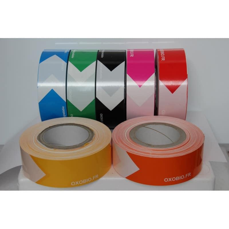 Ruban de signalisation oxobiodégradable - bi color - 4 coloris - 50mm*250m - Rubalise