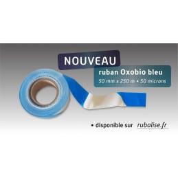Ruban oxobiodégradable 50mm*250m bleu/blanc Rubalise écologique