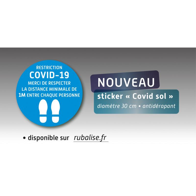 """Sticker """"Covid-19"""" merci de respecter la distance minimale d'un mètre entre chaque personne lot de 10"""