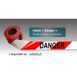 """Rubalise plastique rouge et blanche avec mention """"danger""""75mm*250m"""