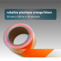 Rubalise plastique 50mm*100m - Orange/Blanc
