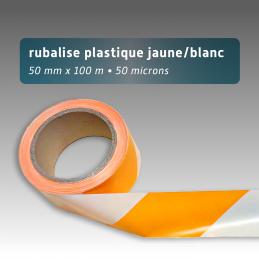 Rubalise plastique 50mm*100m - Jaune/Blanc