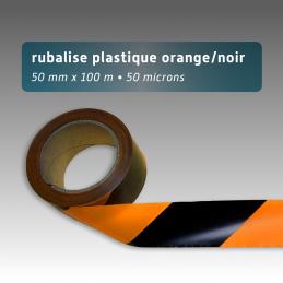 Rubalise plastique 50mm*100m - Noir/Orange
