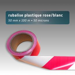 Rubalise plastique 50mm*100m - Rose/Blanc