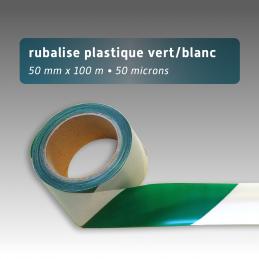 Rubalise plastique 50mm*100m - Vert/Blanc