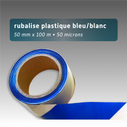 Rubalise plastique 50mm*100m - Bleu/Blanc