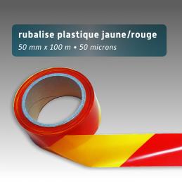 Rubalise plastique 50mm*100m - Jaune/Rouge
