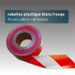 Ruban de chantier rouge et blanc, recyclé couleur uni - 70mm*380m