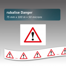 Rubalise plastique danger triangle rouge 75mm*100m