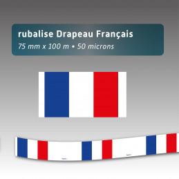 Rubalise plastique drapeau Français - 75mm*100m