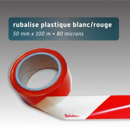 Rubalise chantier de signalisation blanc rouge ultra résistant - 50mm*100m - Rubalise